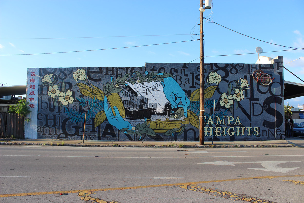 Tampa heights mural at cafe hey for City of tampa mural